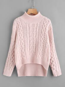 Cable Knit Stepped Hem Sweater