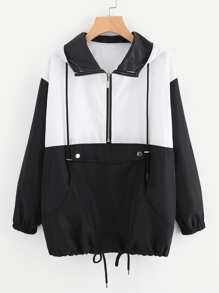Color Block Zipper Front Drawstring Hem Jacket