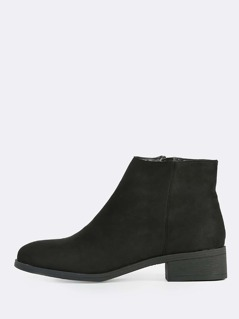 Round Toe Zip Up Boots BLACK