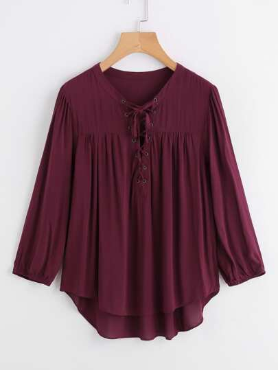 Tie Up Front Dolphin Hem Blouse