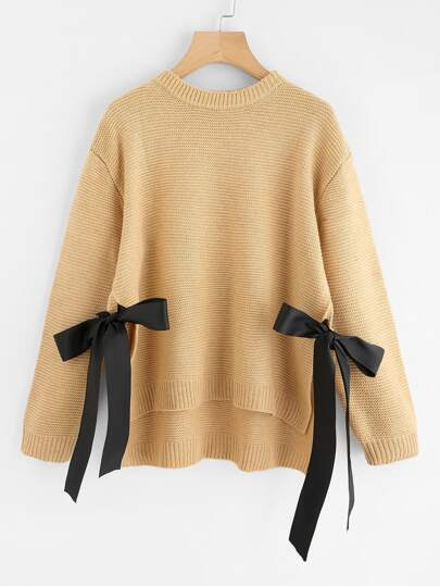 Bow Tie Side High Low Sweater