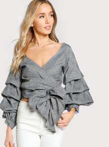 Gathered Sleeve Tie Waist Checked Wrap Top