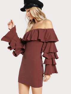 Knitted Off Shoulder Ruffle Dress BURGUNDY