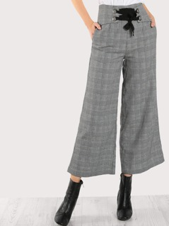 High Rise Lace Up Plaid Capri Pants WHITE BLACK