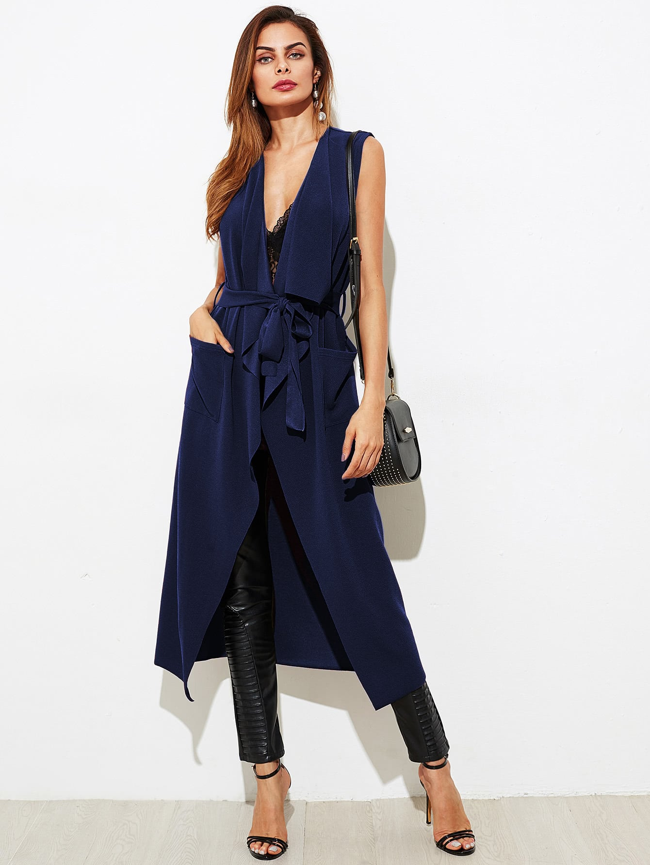 Patch Pocket Detail Waterfall Vest