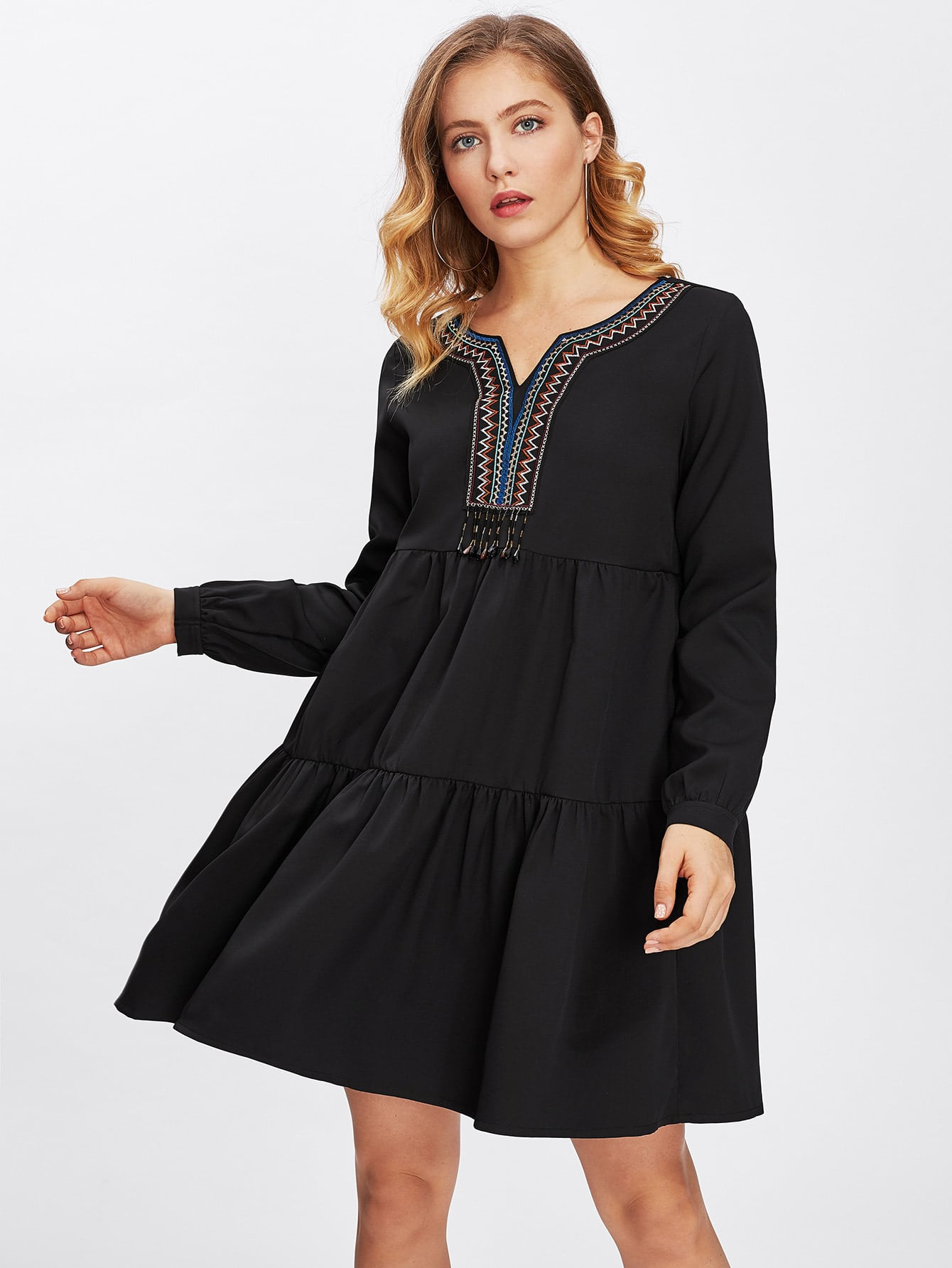Beading Fringe Detail Embroidered Neck Tiered Dress embroidered tape detail beading trim bardot top