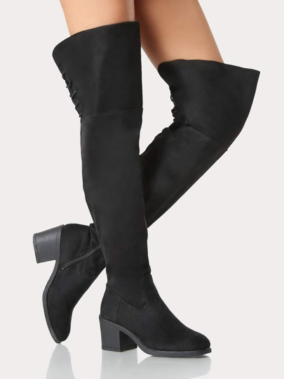 Drawstring Lace Up Thigh High Boots BLACK