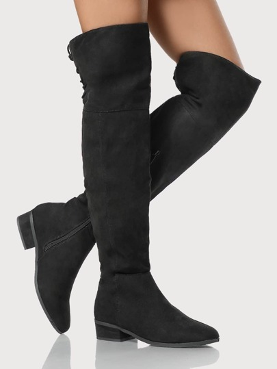 OTK Back Lace Up Faux Suede Boots BLACK