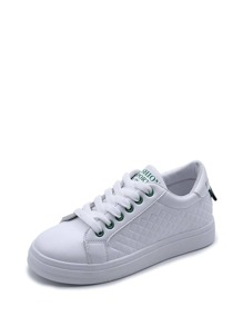 Quilted Lace Up Low Top Sneakers