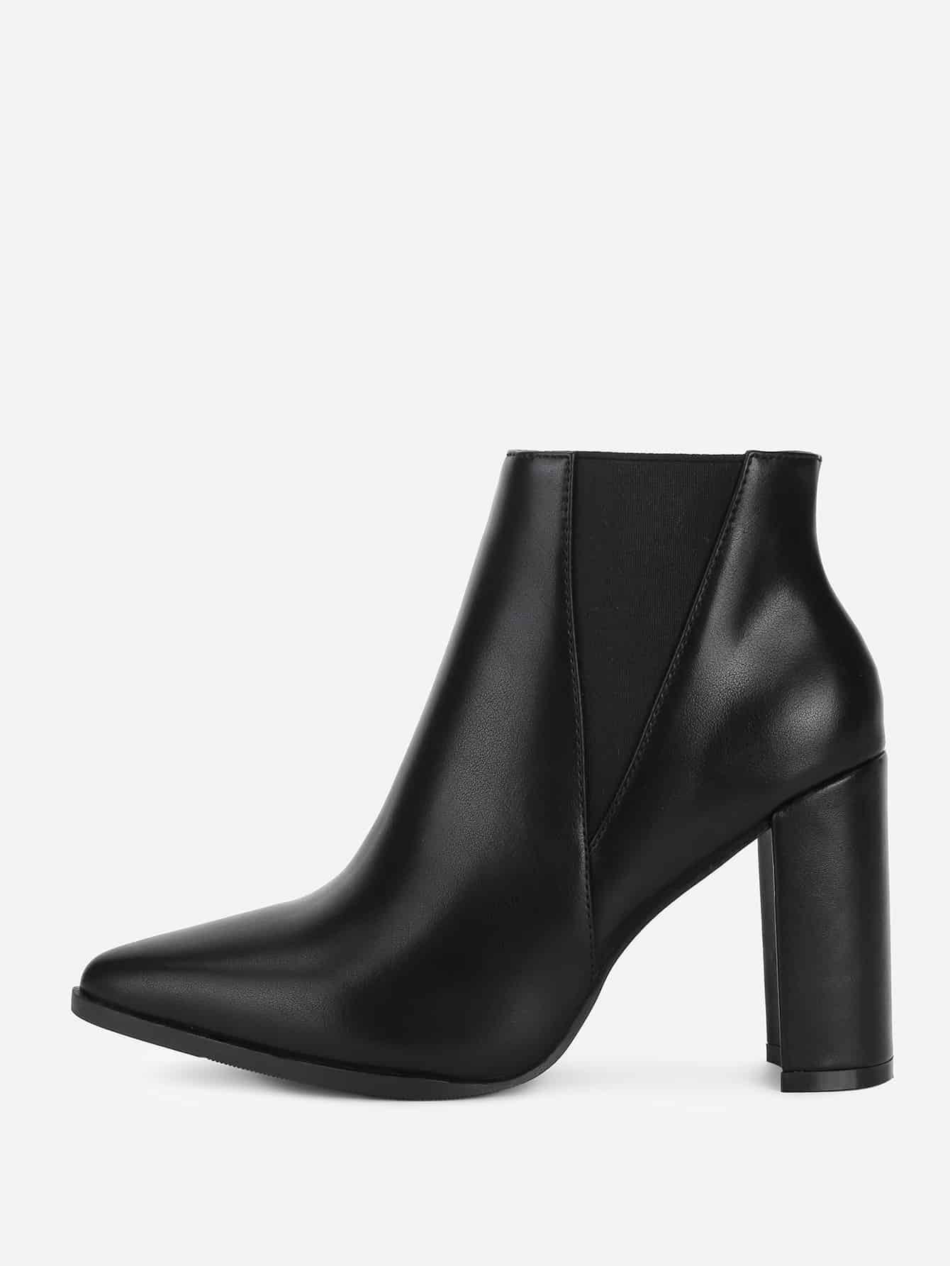 Image of Back Block Heeled PU Ankle Boots
