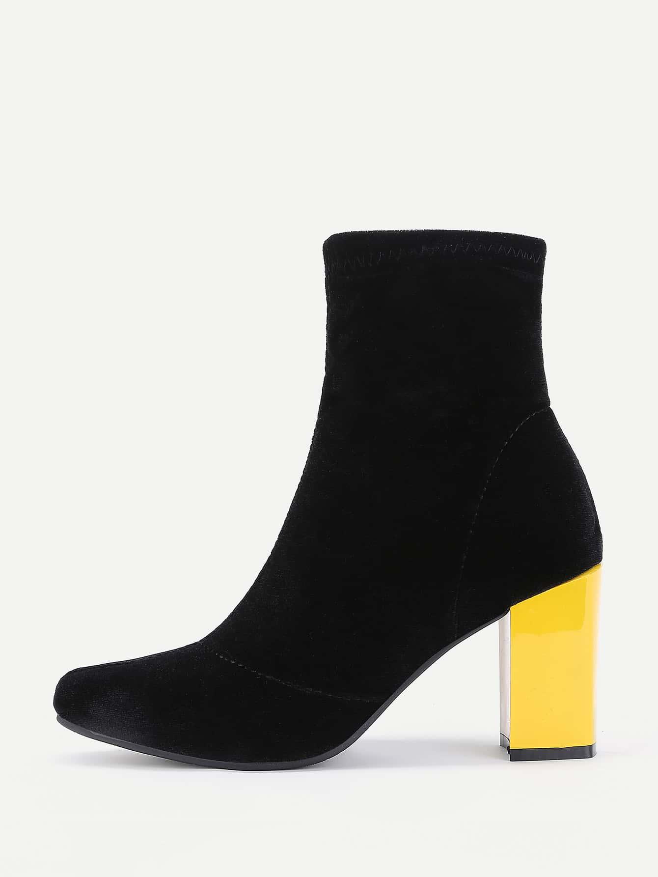 Pointed Toe Block Heeled Velvet Ankle Boots куклы gulliver кукла земляничка 30 см