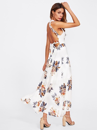 Bow Tie Open Back Floral Overlap Dress