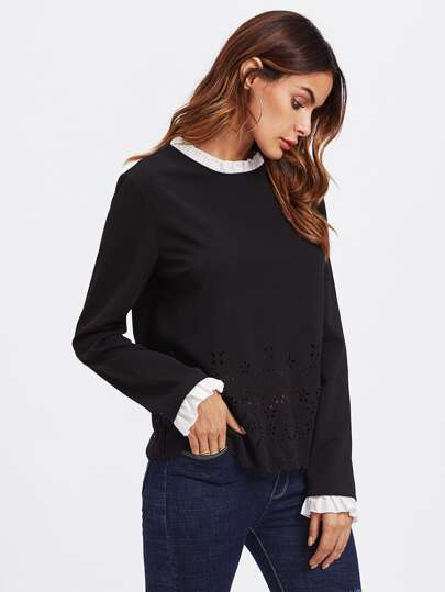 Contrast Ruffle Trim Scallop Laser Cut Top