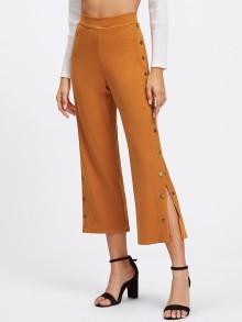 Snap Button Side Zipper Back Pants