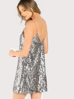 Metallic Sequin Swing Cami Dress