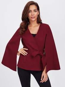 Cape Sleeve Belted Wrap Coat