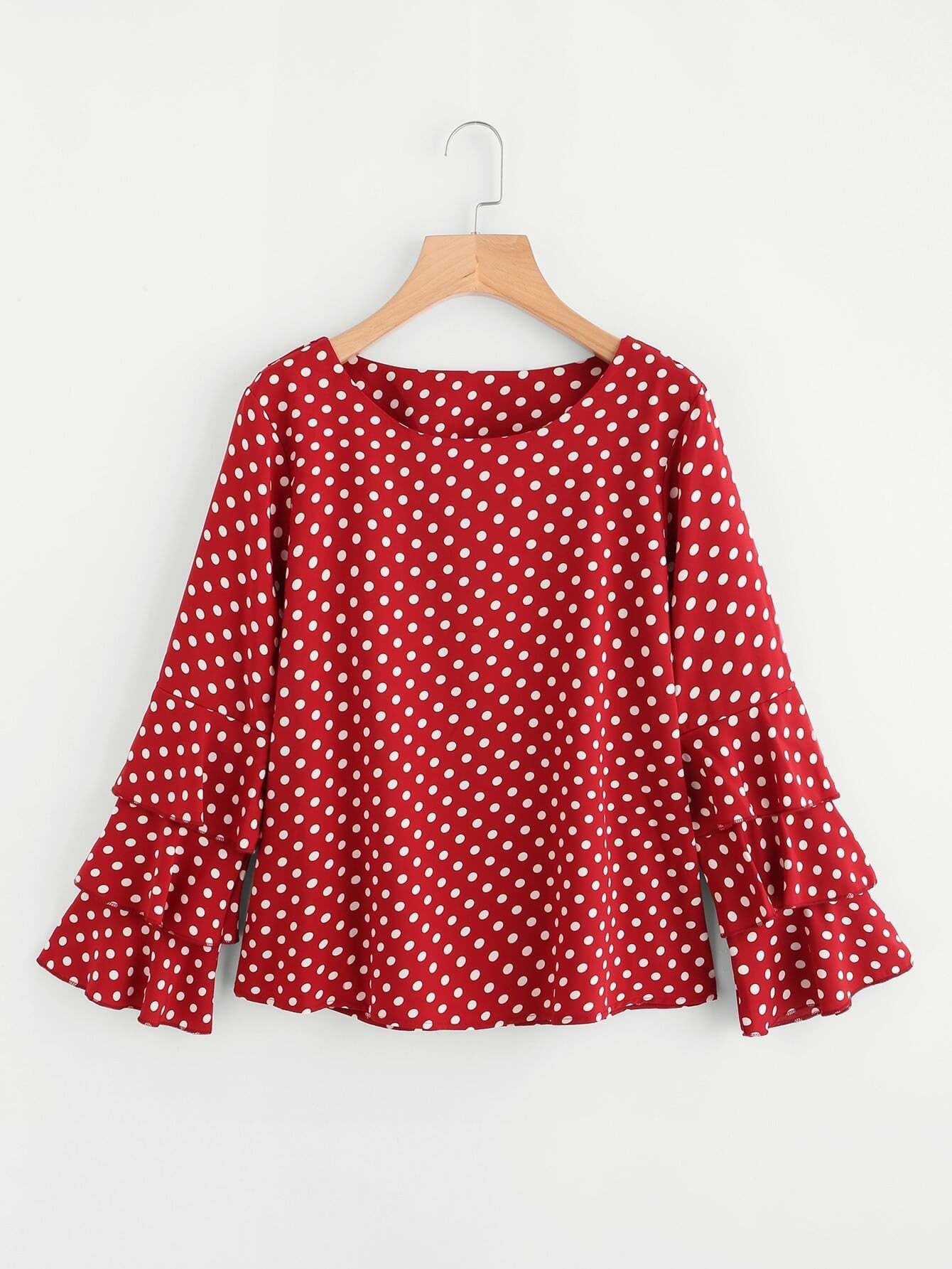 Tiered Fluted Sleeve Polka Dot Blouse fluted sleeve bardot blouse