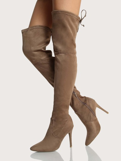 Point Toe Drawstring OTK Boots TAUPE