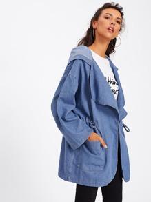 Drawstring Waist Drop Shoulder Hooded Denim Coat