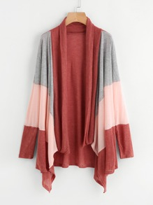 Contrast Panel Drape Front Marled Coat