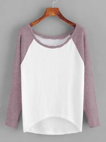 Contrast Raglan Sleeve Dip Hem Knit Sweater