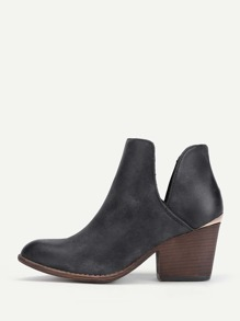 V Cut Design PU Ankle Boots