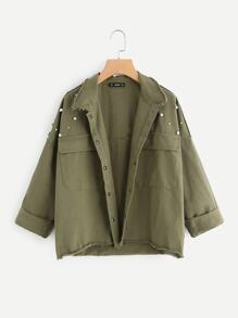 Pearl Beaded Raw Cut Trim Military Jacket
