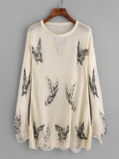 Butterfly Print Ripped Knit Sweater