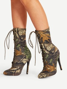 Mix Pattern Pointed Toe Stiletto Boots