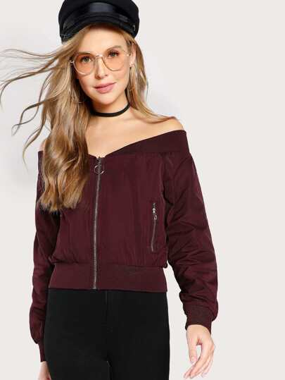 Satin Off Shoulder Bomber Jacket WINE