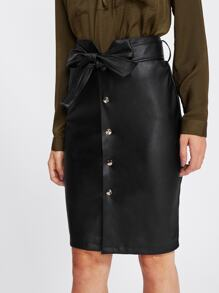 Tie Waist Button Up Faux Leather Skirt