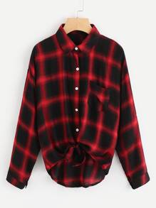 Drop Shoulder Roll Tab Sleeve Plaid Shirt