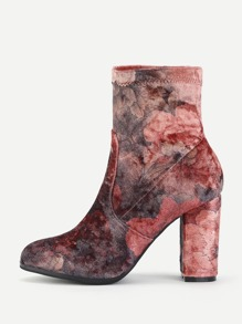 Flower Print Block Heeled Ankle Boots