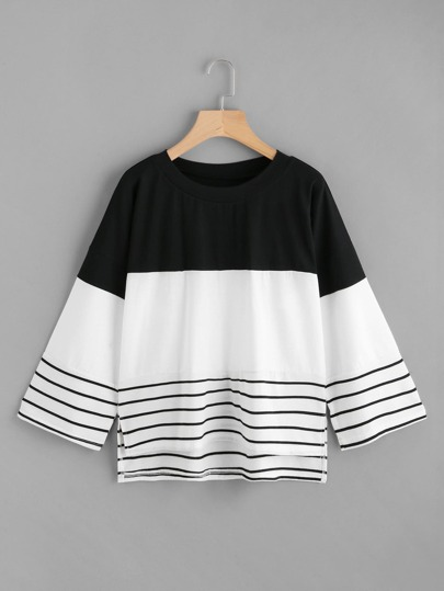 Contrast Striped Split Dip Hem Tee