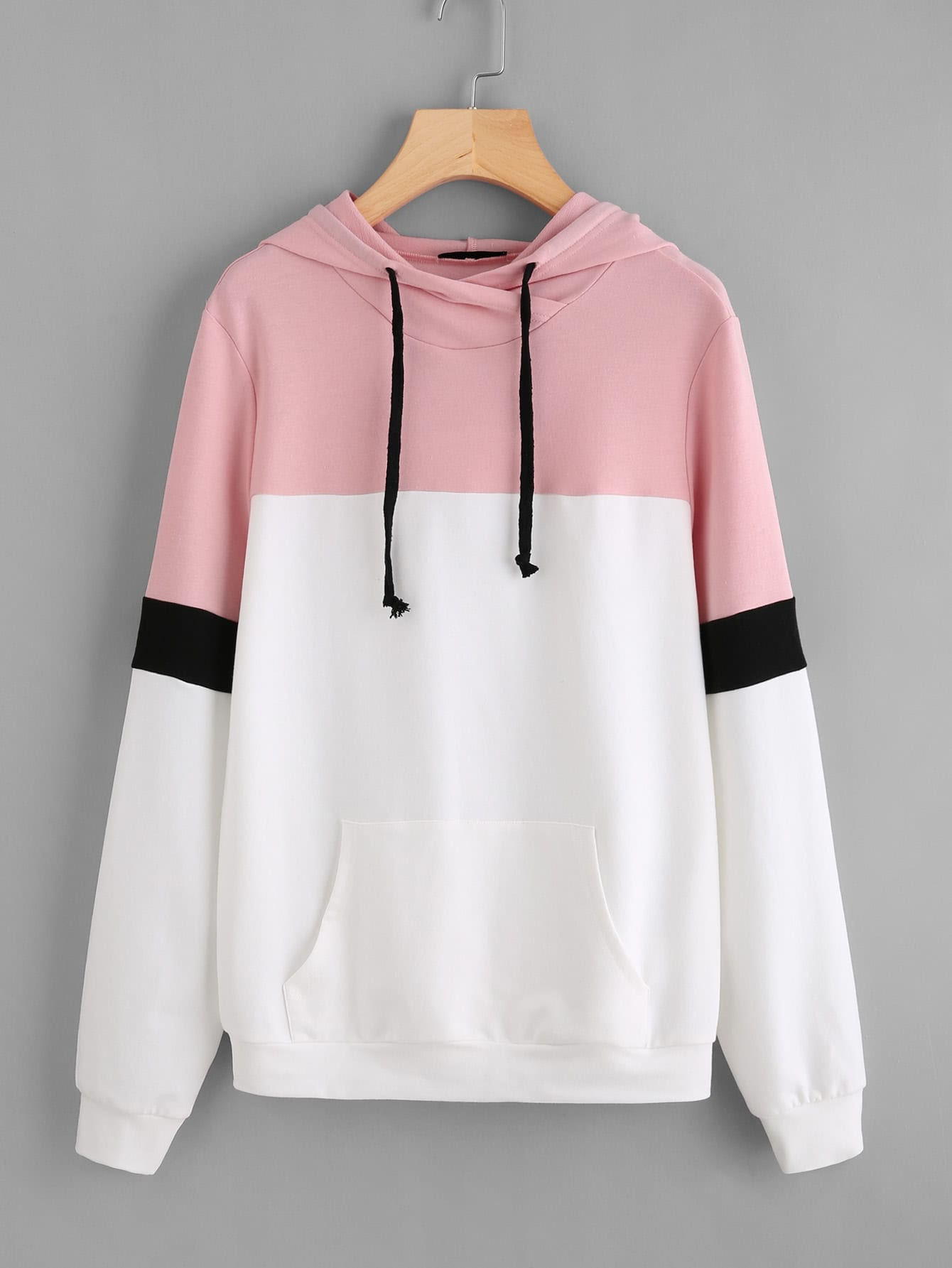 Pocket Front Cut And Sew Hoodie hollow out pocket front hoodie