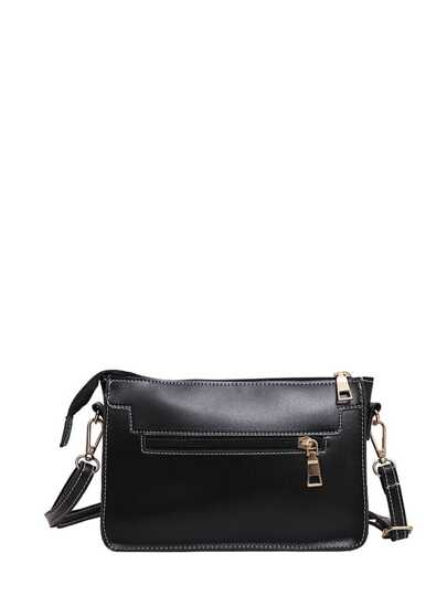 PU Zipper Crossbody Bag With Adjustable Strap