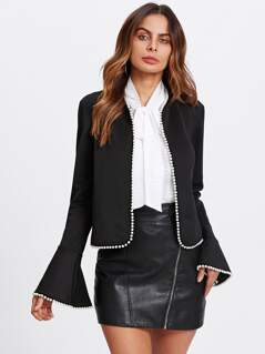 Pearl Beading Bell Sleeve Open Front Blazer