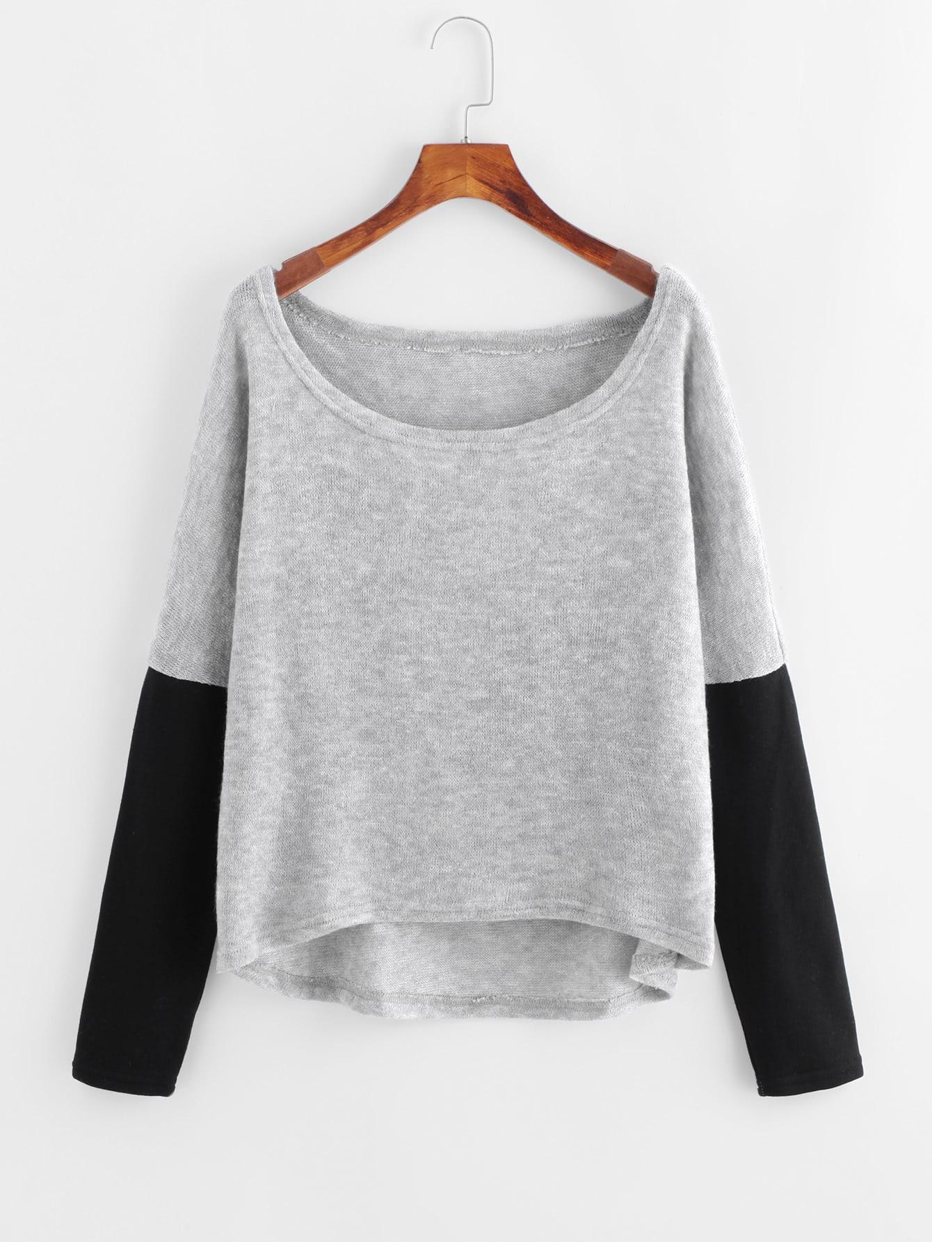 Contrast Sleeve Dip Hem Sweater sweater171023175