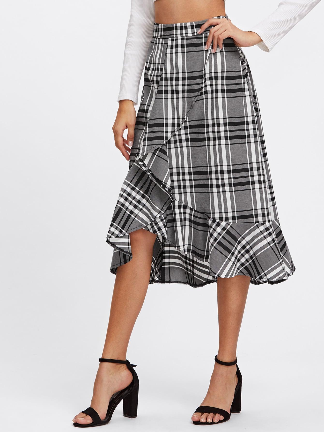 Frill Trim Plaid Overlap Skirt frill trim plaid wrap skirt