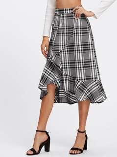 Frill Trim Plaid Overlap Skirt