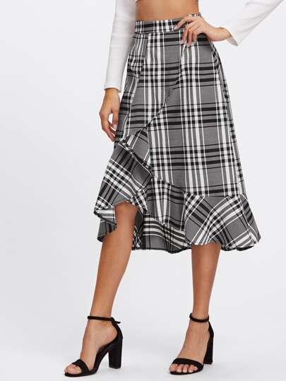 Frill Trim Plaid Overlap Skirt