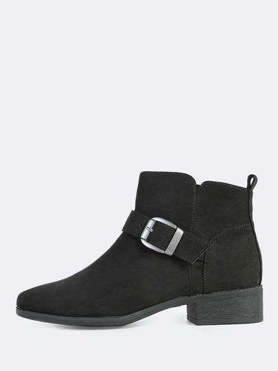 Plain One Strap Buckle Booties BLACK