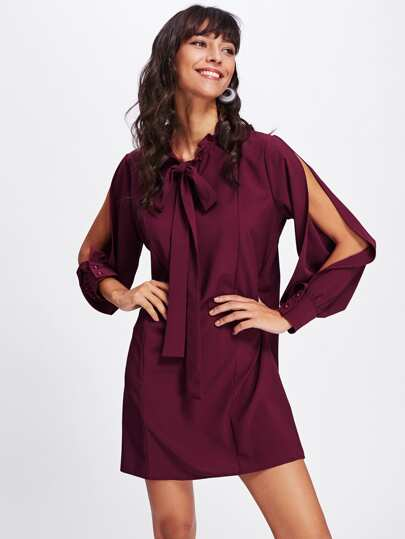 Split Sleeve Bow Tie Front Dress