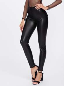 Pocket Back Faux Leather Leggings