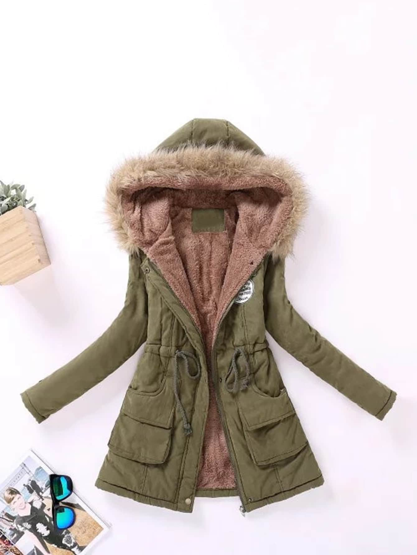 Faux Fur Lined Parka Coat