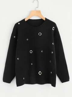 Drop Shoulder Grommet Detail Sweater