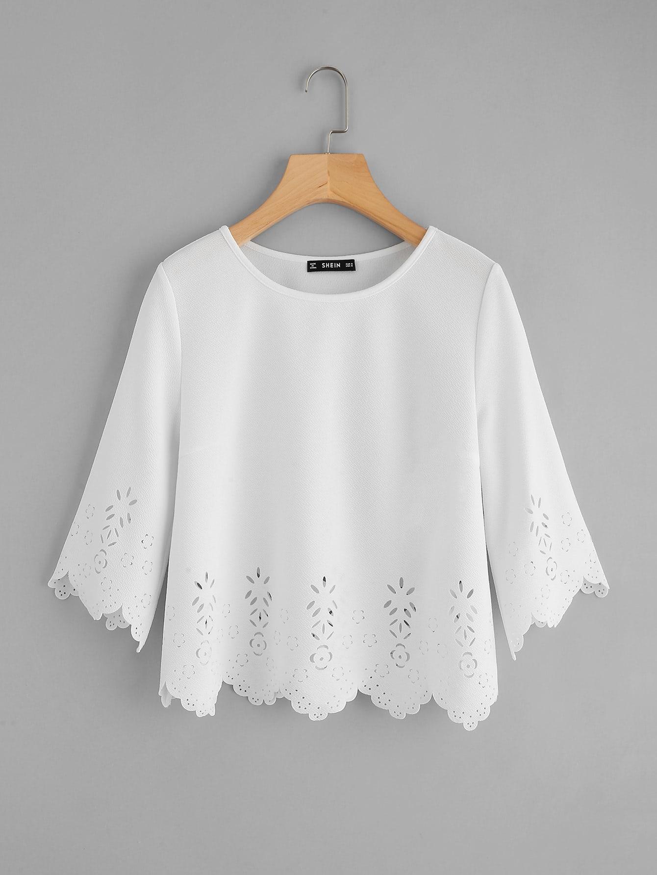 Scallop Laser Cut Textured Top scallop laser cut textured blouse