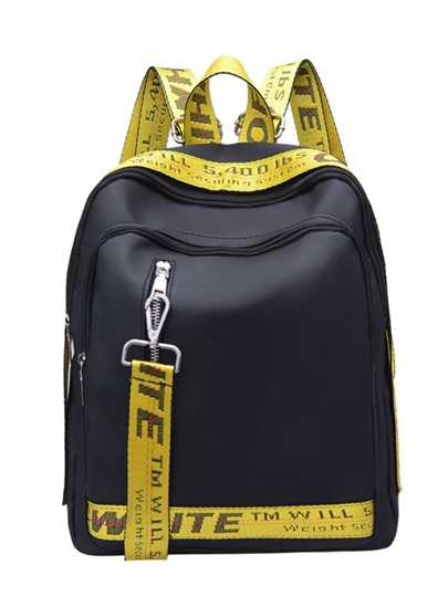 Two Tone Backpack With Slogan Tape