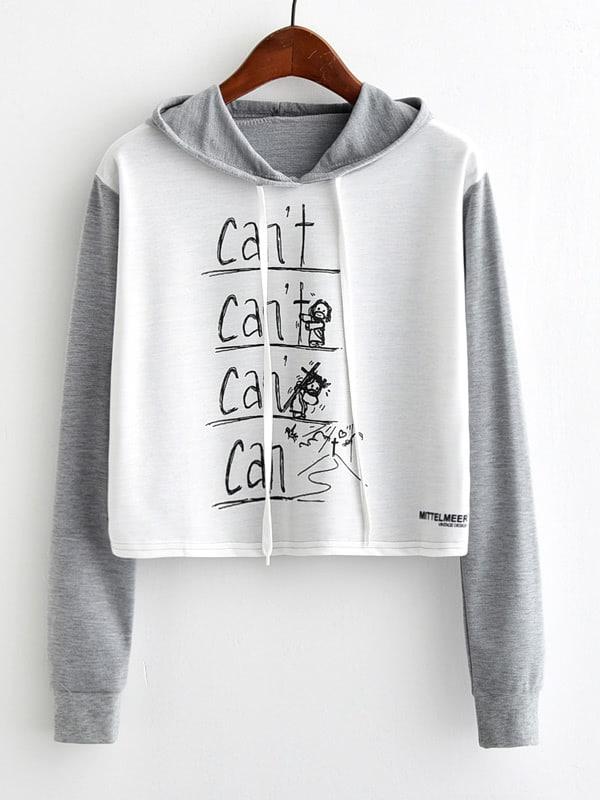 Contrast Sleeve Letter Print Hoodie letter print raglan hoodie