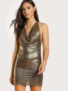 Cowl Neck Backless Glitter Cami Dress
